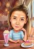 Карикатура за момиче с торта