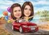 Карикатура за момичета с кола и балони