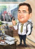 Карикатура за мъж счетоводител с кола