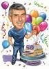 Карикатура за рожден ден на 50 с торта и балони
