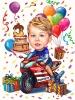 Карикатура за рожден ден на дете с мотор