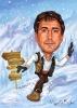 Карикатура за сноубордист с народна носия