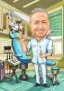 Карикатура за стоматолог с торта