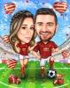 Карикатура за влюбена двойка на стадион