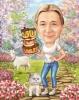Карикатура за юбилей на жена с коте
