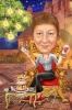 Карикатура за юбилей на жена с вино