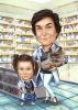 Карикатура за жена фармацевт с дете