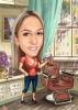 Карикатура за жена фризьор със сешоар