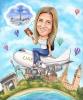 Карикатура за жена на самолет