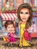 Карикатура за жена с дете