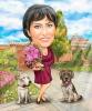 Карикатура за жена с кучета