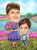 Карикатура за жена с лилава рокля и дете