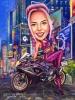 Карикатура за жена с мотор