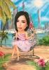 Карикатура за жена с розова рокля