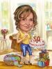 Карикатура за жена с торта за 50 години