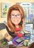 Карикатура за жена счетоводителка с куче