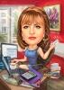 Карикатура за жена счетоводителка с телефон