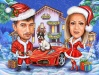 Коледна карикатура с червена кола