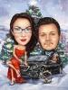 Коледна карикатура с кола