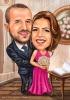 Красива сватбена карикатура за кумове