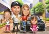 Семейна карикатура с дизайнер