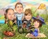 Семейна карикатура с ловец