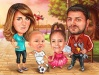 Семейна карикатура треньор