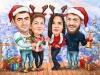 Семейна коледна карикатура за 4 човека