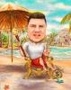 Шарж мъж на трон на плажа