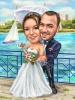 Сватбена карикатура на море