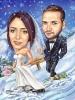 Зимна сватбена карикатура